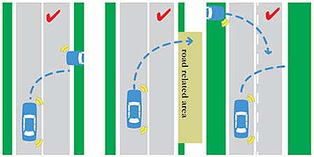 crossing single solid white line turning right